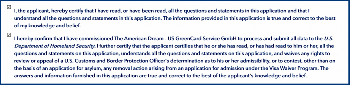Confirmation of Comprehension and Order in the ESTA application