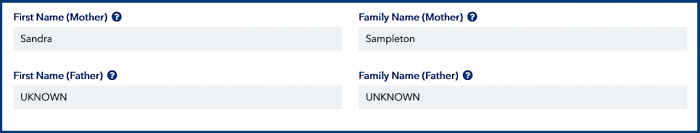 Names of parents in the ESTA application
