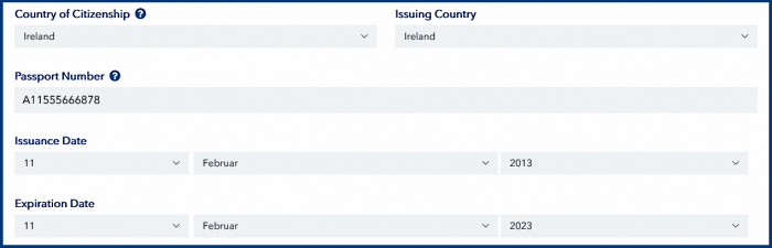 Passport issuing country in the ESTA application