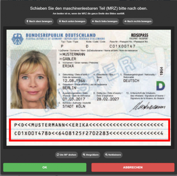 Image of passport upload